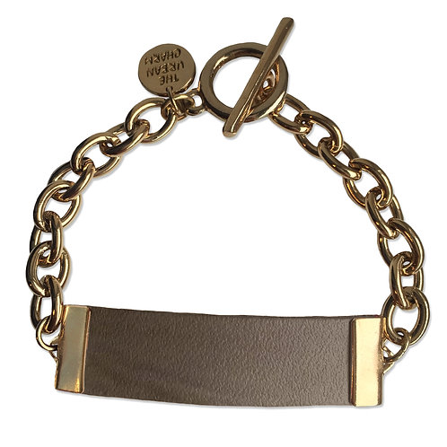 Distressed Grey Leather and Metal ID Bracelet