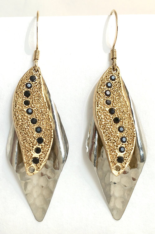 Wavy Swarovski™ Crystal Sun Rays Silver and Gold Earrings