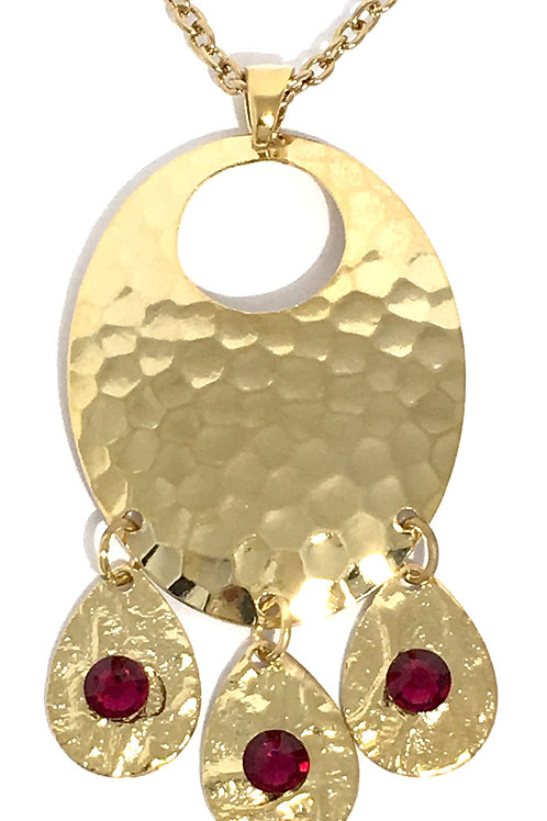 Gold Oval Chandelier Dangle Necklace with Ruby Swarovski™ Crystals
