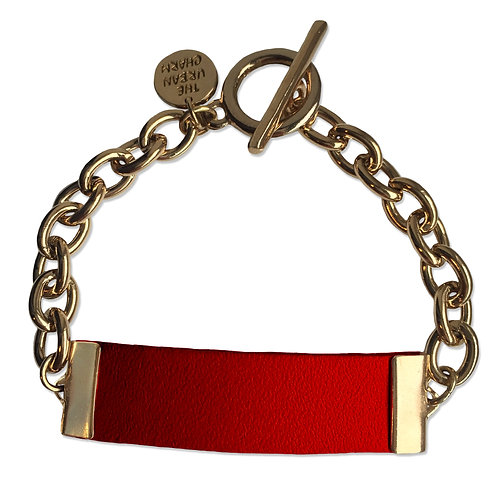 Red Leather and Metal ID Bracelet