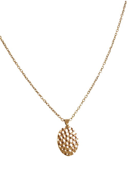 Flat Oval Hammered Necklace