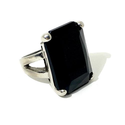 Silver Jet Black Swarovski™ Crystal Ring