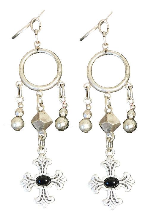 Silver and Black Cross Dangle Earrings