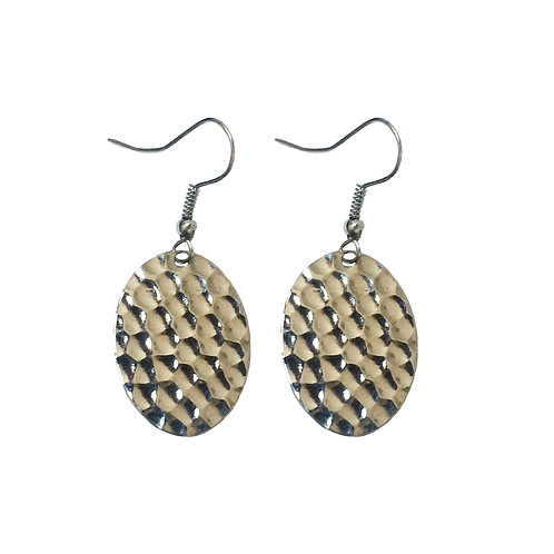 Hammered Small Flat Oval Dangle Earrings