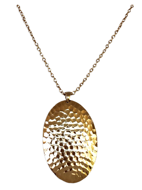 Hammered Oval Domed Dangle Necklace