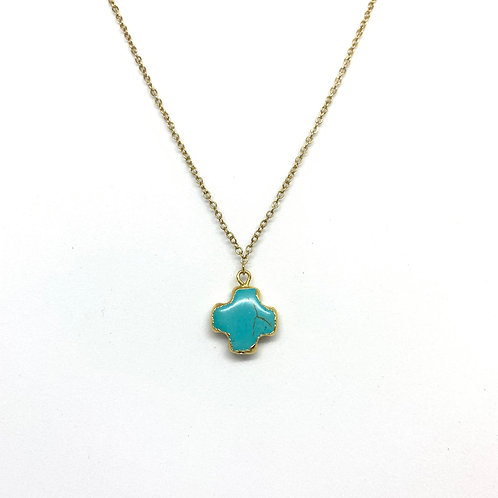 Gold Dipped Cross Turquoise Necklace