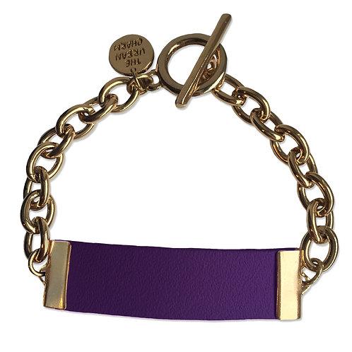 Purple Leather and Metal ID Bracelet