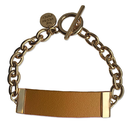 Tan Leather and Metal ID Bracelet