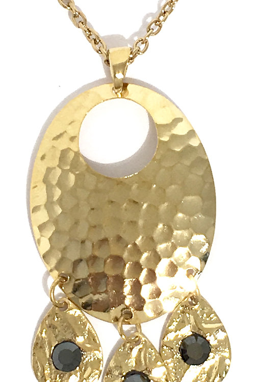 Gold Oval Chandelier Dangle Necklace with Jet Swarovski™ Crystals