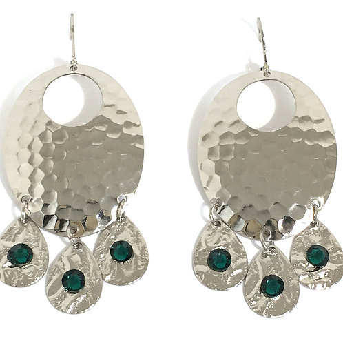 Silver Oval Chandelier Dangle Earrings with Emerald Swarovski Crystals