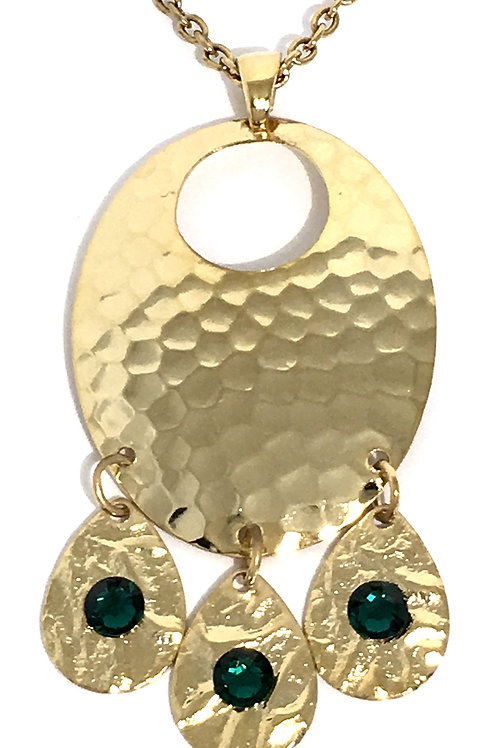 Gold Oval Chandelier Dangle Necklace with Emerald Swarovski™ Crystals