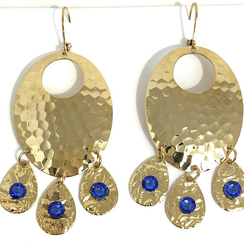 Gold Oval Chandelier Dangle Earrings with Sapphire Swarovski™ Crystals