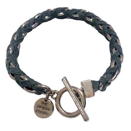 Grey Suede Woven Chain Bracelet