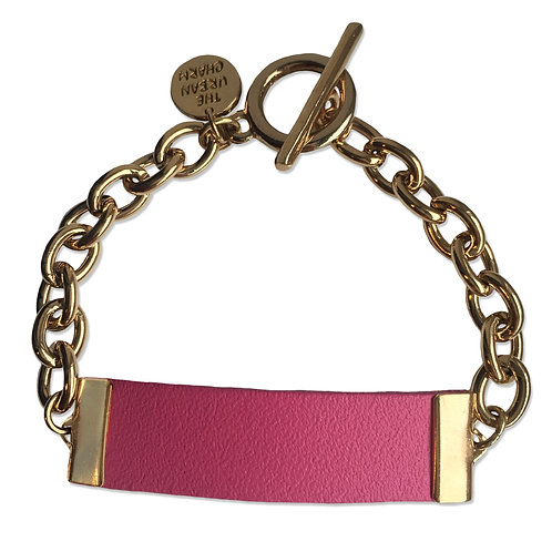 Pink Leather and Metal ID Bracelet