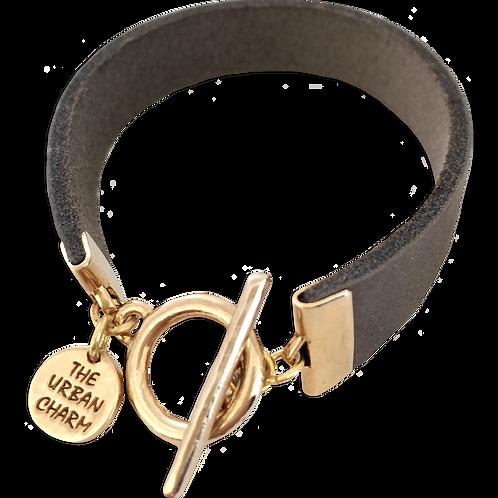 Distressed Grey Leather Color Band Bracel
