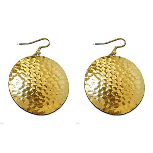 Hammered Circle Domed Dangle Earrings