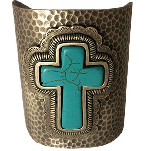 Silver Cross Hammered Cuff Bracelet