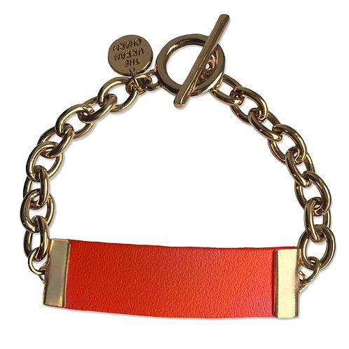 Orange Leather and Metal ID Bracelet