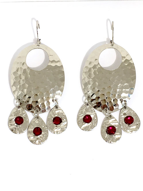 Silver Oval Chandelier Dangle Earrings with Ruby Swarovski Crystals