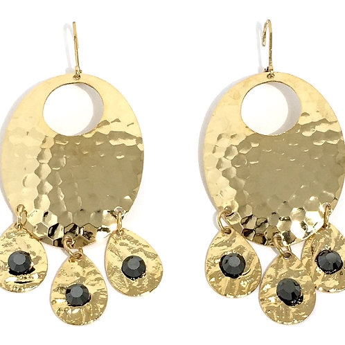 Gold Oval Chandelier Dangle Earrings with Jet Swarovski Crystals
