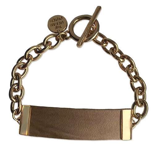 Distressed Tan Leather and Metal ID Bracelet