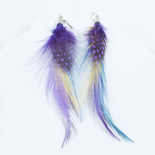 Multi-Colored Feather Earrings