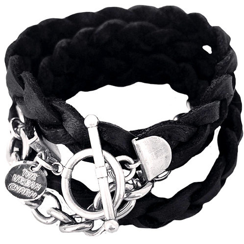 Genuine Black Braided Four Wrap Leather Br