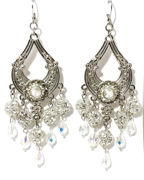 Silver Chandelier Swarovski Crystal Earrings