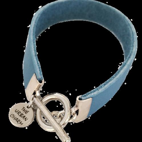 Baby Blue Leather Color Band Bracelet