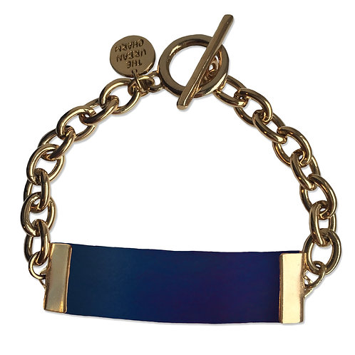 Blue Leather and Metal ID Bracelet