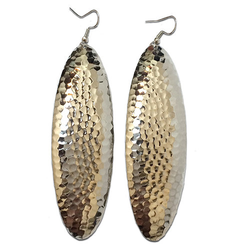 Silver or Gold Hammered Long Oval Dangle Earrings