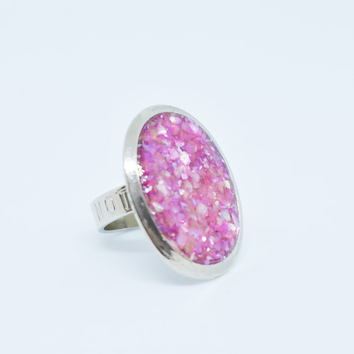 Pink Sunset Shell Resin Ring
