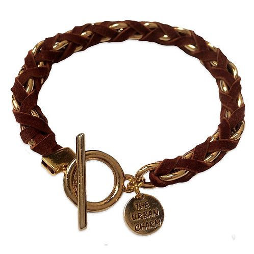 Rust Suede Woven Chain Bracelet