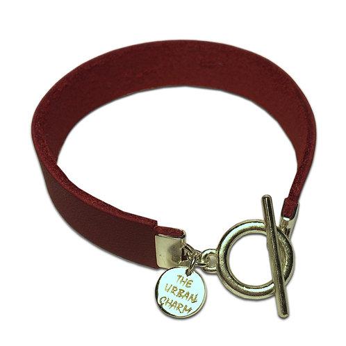 Red Leather Color Band Bracelet
