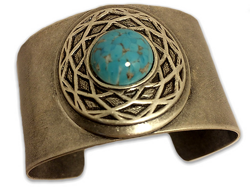 Silver & Turquoise Celtic Cuff Bracelet
