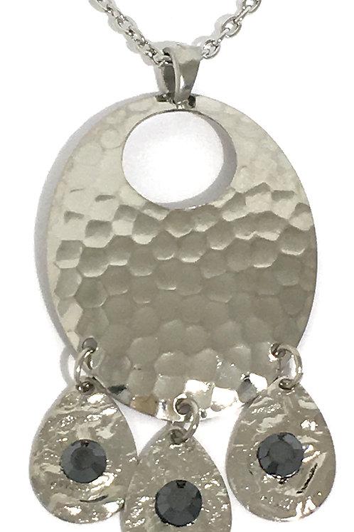 Silver Oval Chandelier Dangle Necklace with Jet Swarovski™ Crystals