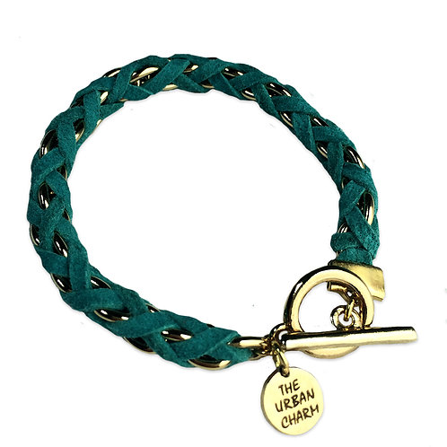 Turquoise Suede Woven Chain Bracelet