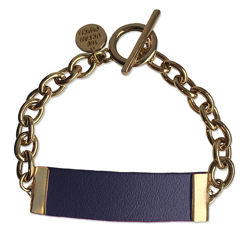 Navy Leather and Metal ID Bracelet