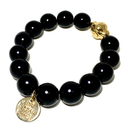 Black Agate Protection Mantra Bracelet