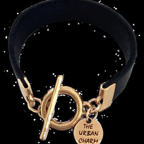 Black Leather Color Band Bracelet