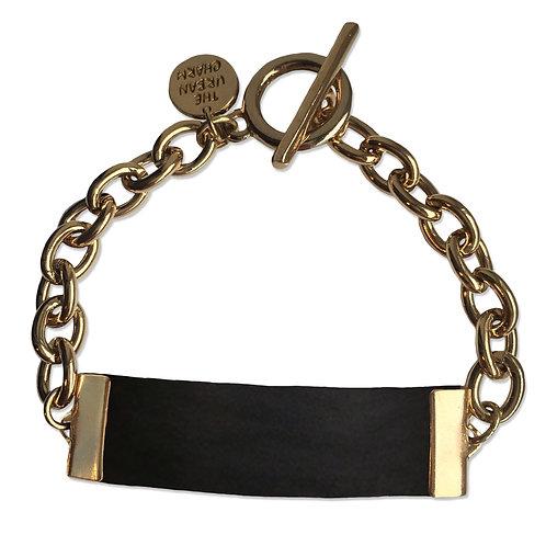 Black Leather and Metal ID Bracelet