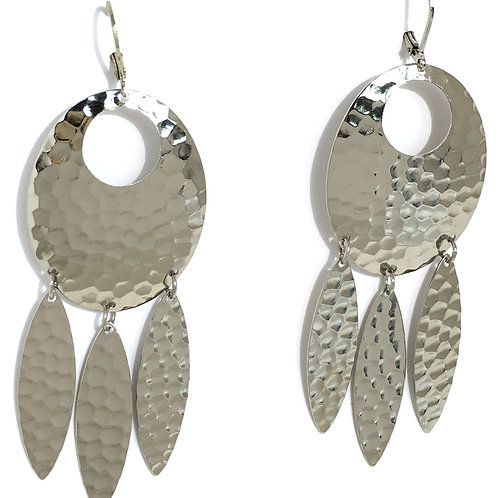 Silver Oval Dream Catcher Earrings