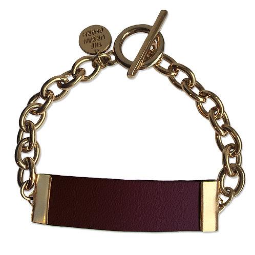 Burgandy Leather and Metal ID Bracelet