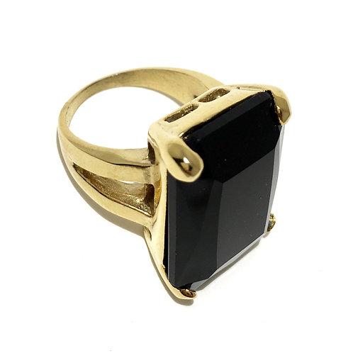 Gold Jet Black Swarovski™ Crystal Ring