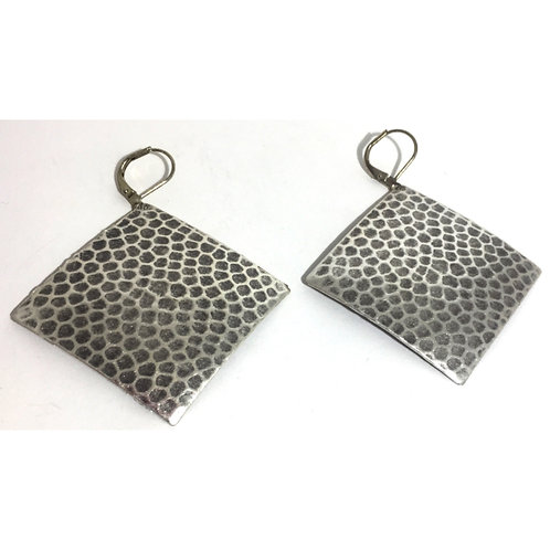 Antique Silver Diamond Dome Earrings
