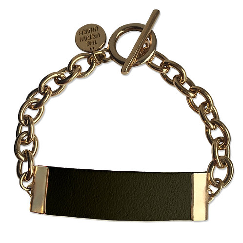 Distressed Olive Leather and Metal ID Bracelet