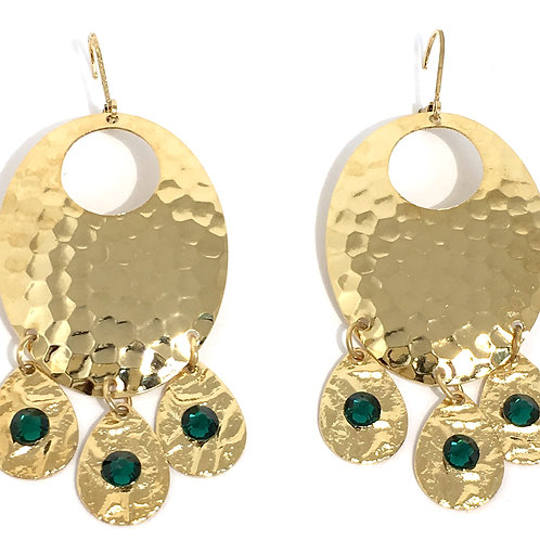 Gold Oval Chandelier Dangle Earrings with Emerald Swarovski Crystals