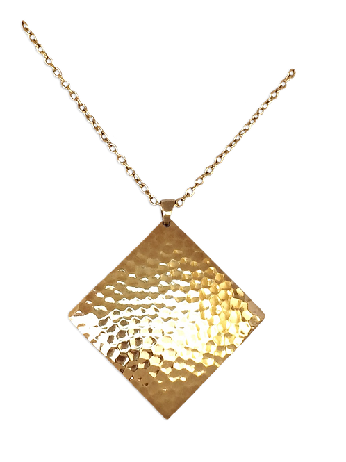 Hammered Diamond Dome Dangle Necklace