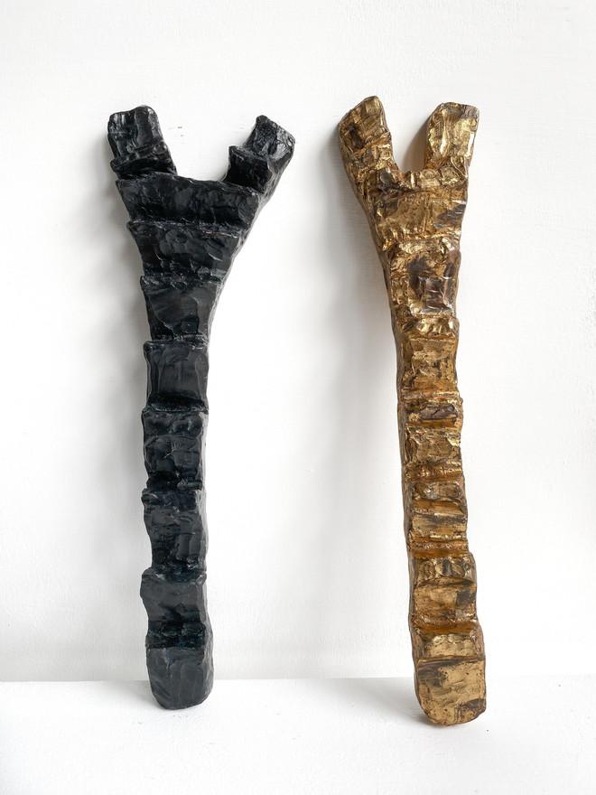 Dogon Ladders I and II  2020 Bronze, patina, 24K gold leaf 36.5 x 9 x 3.5 cm and 36 x 12 x 3.5cm