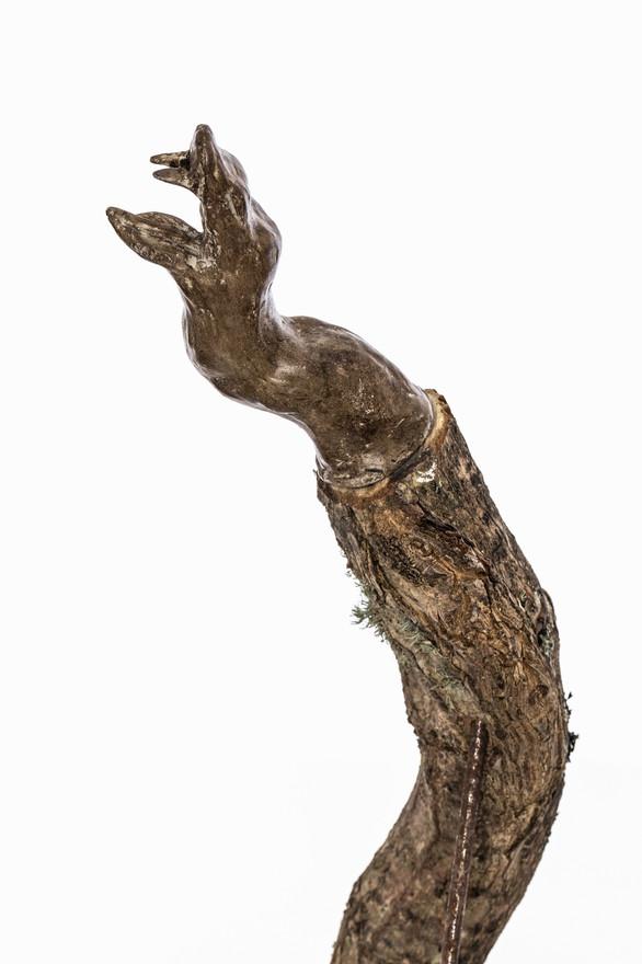 Totem III (Serpent ), 2019  Unfired clay, wax polish, oak tree branch, cement, pigment, lichen, steel rod, rust  60cm x 8xm x 15cm